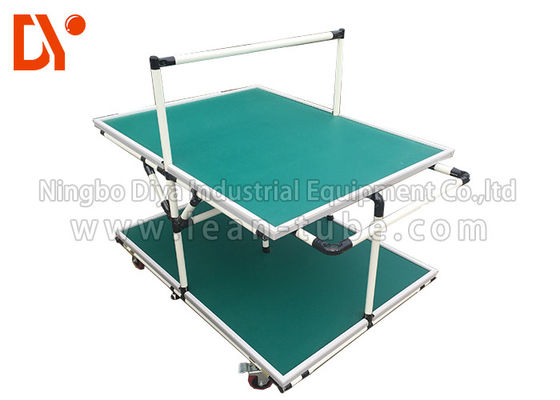 Lean Pipe Tote Cart Turnover Trolley Glossy Surface Corrosion Resistance