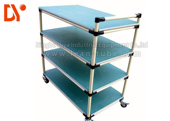 Hand Dorong Tote Cart Cold Welded Aluminium Profile Spray Coating Long Service Life